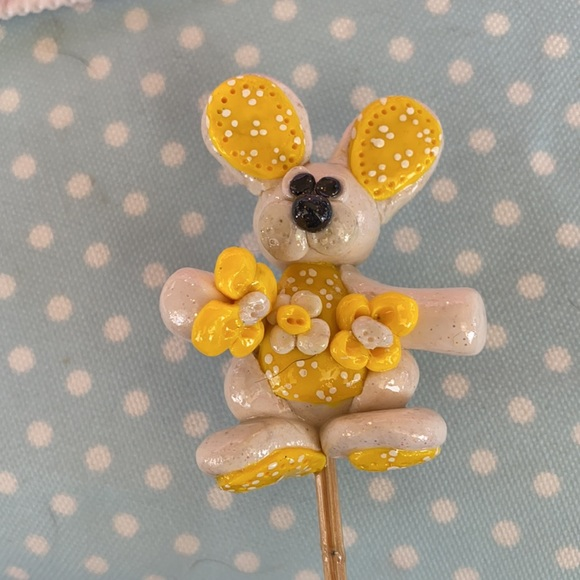 Handcrafted; Clay; Yellow; Bunny; Plant Stick